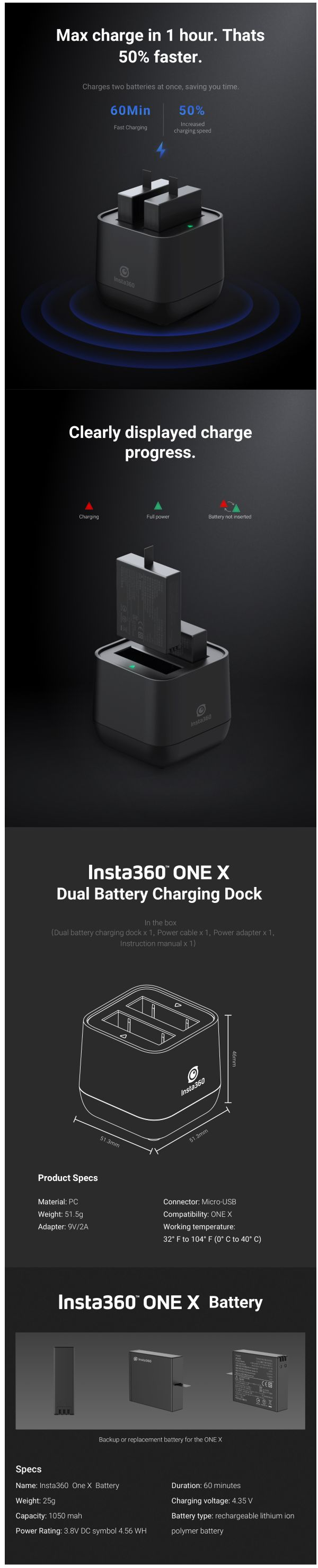 Insta360 Battery Charging Station
